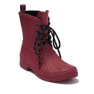 Chooka 6 Eastlake Red Rubber Lace Up Rain Boots